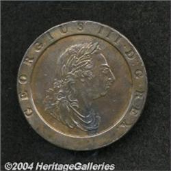 George III Twopence 1797, S-3776. AU55 BN NGC