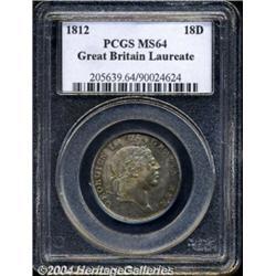 George III 18 Pence 1812, S-3772. Laureate