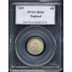 George IV Sixpence 1825, S-3814. Laureate