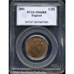 Victoria bronze Halfpenny 1891, S-3956. Bun
