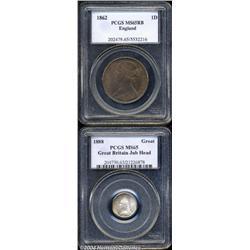 Victoria bronze Penny 1862, S-3954. Bun head.