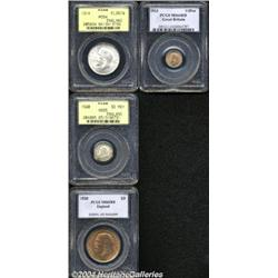 George V type coins, as follows, all graded by