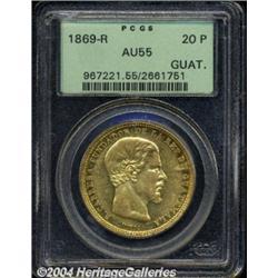 Republic. Gold 20 Pesos 1869-R, KM194, AU55