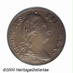George III Halfpenny 1781, Bust right/Harp,