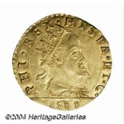Milan. Filippo II gold 1 Doppia 1588, Radiate