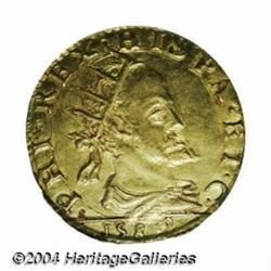 Milan. Filippo II gold 1 Doppia 1589, Radiate
