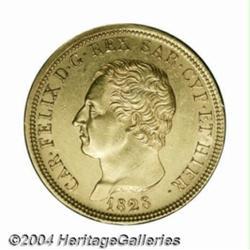 Sardinia. Carlo Felice gold 80 lire 1828 P,