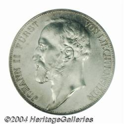 John II 5 franken 1924, Bust left/Crowned