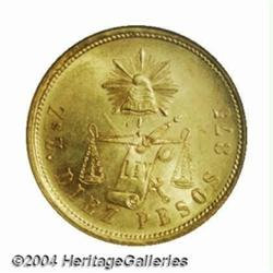 Republic. Gold 10 Pesos 1891-Zs-Z, KM413.9,