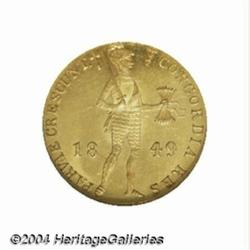 Gold Trade ducat 1849, Knight standing/Tablet,