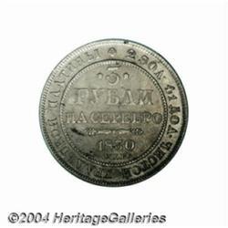 Nicholas I platinum 3 Roubles 1830, C-177, VF,