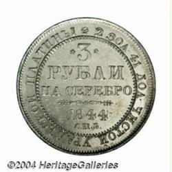 Nicholas I platinum 3 Roubles 1844, C-177,