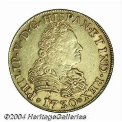 Philip V gold 8 escudos 1730 Seville, Bust