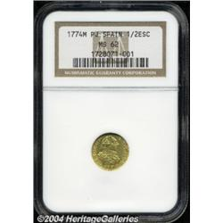 Charles III Gold 1/2 escudo 1774 M-PJ, Fr-290,
