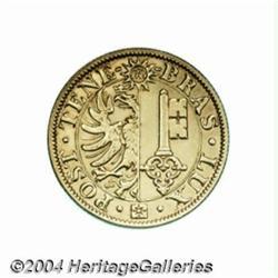 Geneva. Gold 20 francs 1848, Arms/Value,