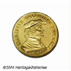 Zurich. Zwingli Medallic gold ducat 1819, Bust