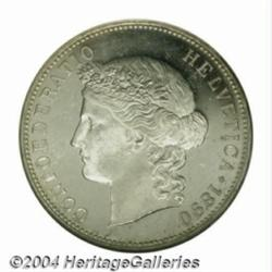 Confederation. 5 Francs 1890B, KM34, MS63 NGC,