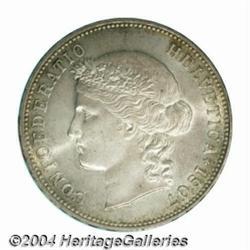 Confederation 5 francs 1907B, Bust