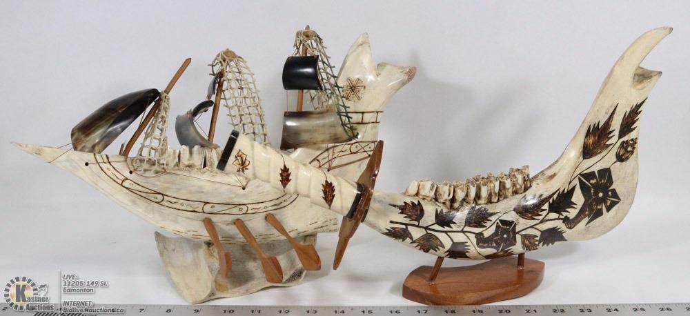 2 Handmade Jaw Bone Carvings