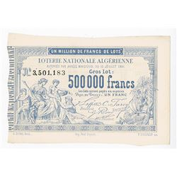 Lotterie Nationale Algerienne, ca.1880-1890s, Lottery Ticket