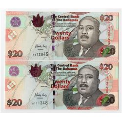 Central Bank of the Bahamas, 2008, $20 Issued Banknote Pair.