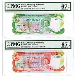 Monetary Authority of Belize, 1980 High Grade Banknote Pair.
