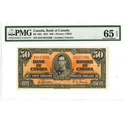 Bank of Canada, 1937 $50 Gordon-Towers Signatures Issued Banknote.
