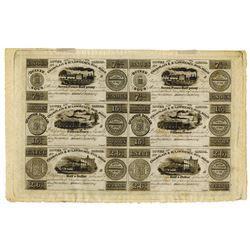 Champlain & St. Lawrence Rail Road, 1837 uncut sheet of 6 notes.