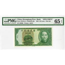 """Kwangtung Provincial Bank, 1935 """"Pak Hoi"""" Branch Issue Specimen."""