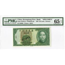 """Kwangtung Provincial Bank, 1935 """"Swatow"""" Branch Issue Specimen."""