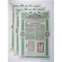 Imperial Chinese Government, Tientsin-Pukow Railway, 1910 Lot of 3 Issued Bonds