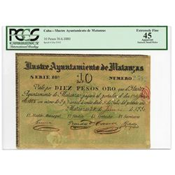 Ylustre Ayuntamiento de Matanzas, 1880 Issued Circulating Bond.