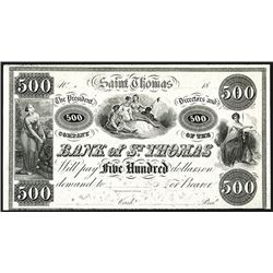 Bank of St. Thomas, 18xx (ca.1840-50's) Proof Banknote.