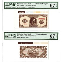 "State Bank of Ethiopia, ND (1945) Unlisted Essay ""Printer's Design"" Specimen."