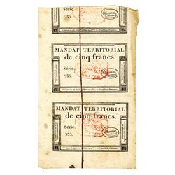 France, Mandat  Territorial 1796 Uncut Pair of Banknotes.