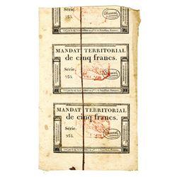 France, Mandat  Territorial 1796 Uncut Pair of Banknotes.