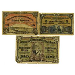 Deutsch-Ostafrikanische Bank, 1905, Issued Trio