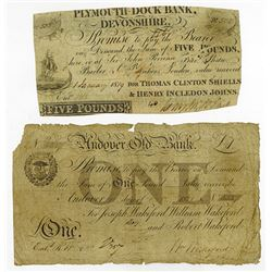 Early English Banknote Pair, ca. 1819-21.