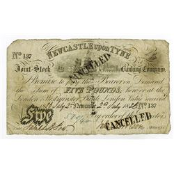Newcastle Upon Tyne, 1836 Issue Banknote.