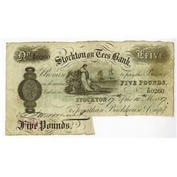 Stockton on Tees Bank, 1887 Issued Banknote.