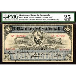 "Banco de Guatemala, 1925) ""Reissue""  Issue Banknote."