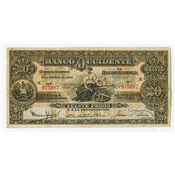 Banco de Occidente en Quezaltenango, 1918, Issued Note