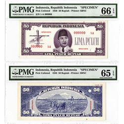 Republik Indonesia 1948 Specimen Essay Banknote Pair