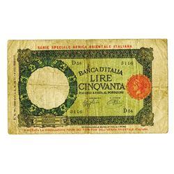 Banca D'Italia-Africa Orientale Italiana, 1939 Issue Banknote.