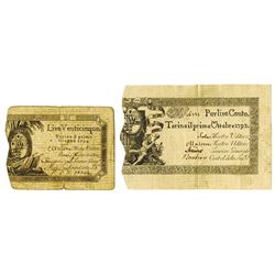 Kingdom of Sardinia, 1792-1794, Pair of Issued Notes