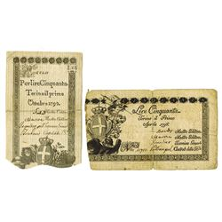 Kingdom of Sardinia, Regie Finanze-Torino, 1792-1796, Pair of Notes