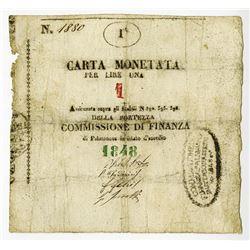 Palmanova, Commissione Di Finanza, 1848 Issue Banknote.
