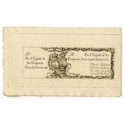 Regie Finanze-Torino, 1765 Issue Banknote.