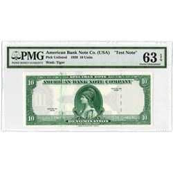 "American Bank Note Co.1929 (ca.1960-80's) ""Test Note"" with ""Tiger"" Watermark Used on Malaysia Bankno"