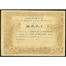 Banque De La Martinique, Cheque - B.P.F.1, 187x Remainder Banknote.
